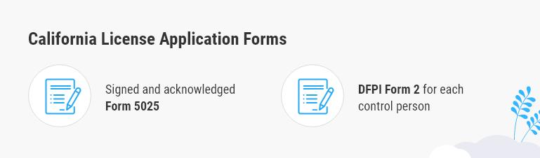 california license application forms